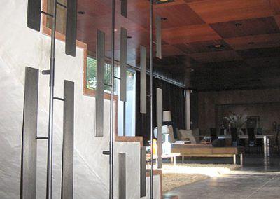 Artisan metal banister in custom home