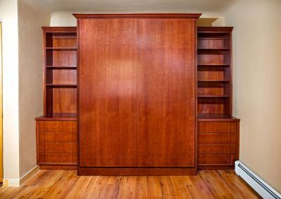 Murphy bed with continuous grain detail