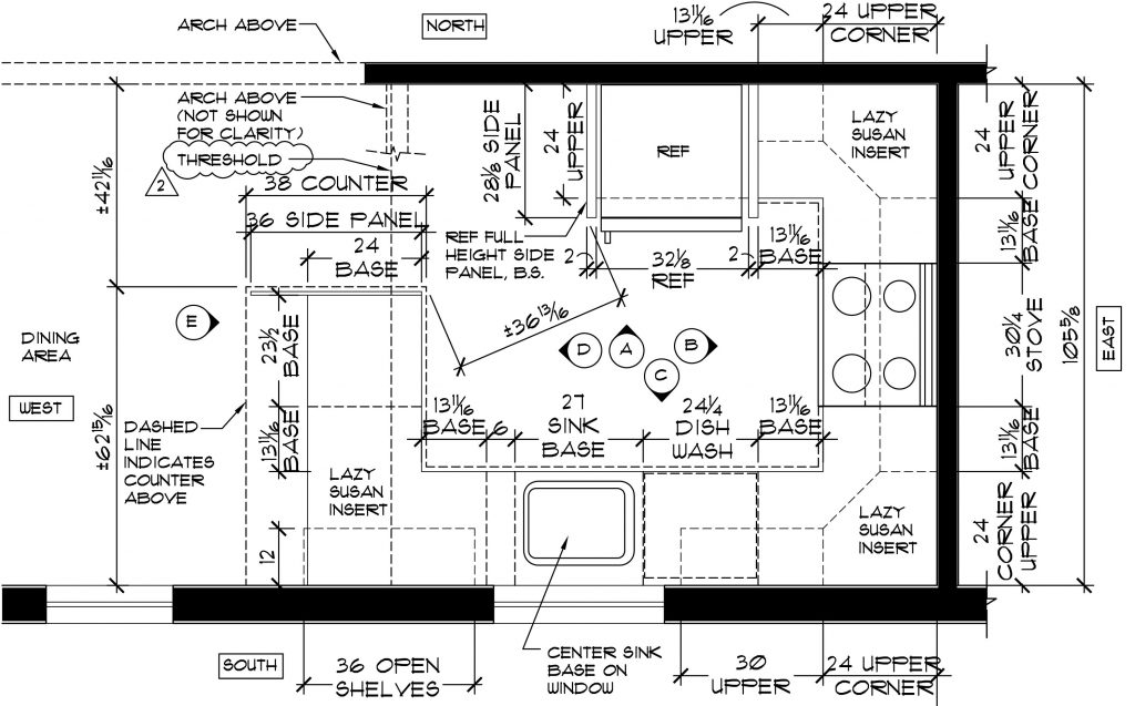 Architectural drawing of a kitchen