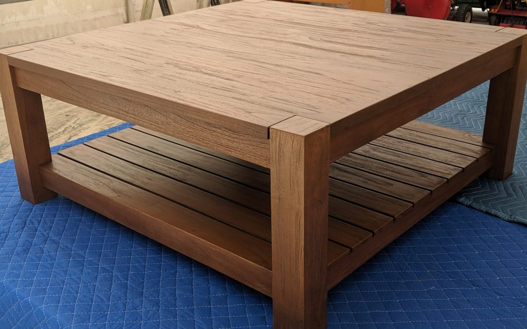 Teak coffee table before and after